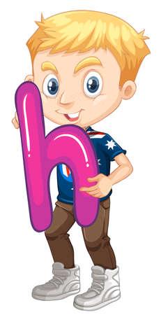 h: Little boy holding letter H illustration