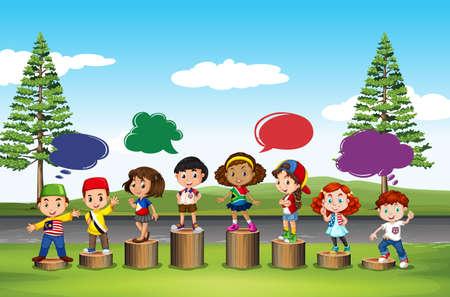ethnicity happy: Many children standing on logs illustration Illustration