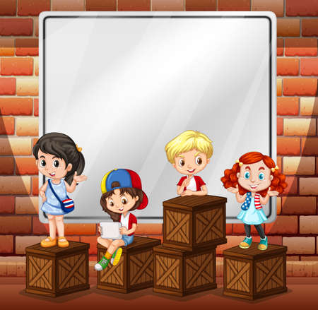 cartoon kid: Border design with children and boxes illustration