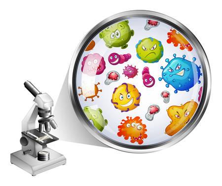 Microscoop en zoom foto van bacteriën illustratie