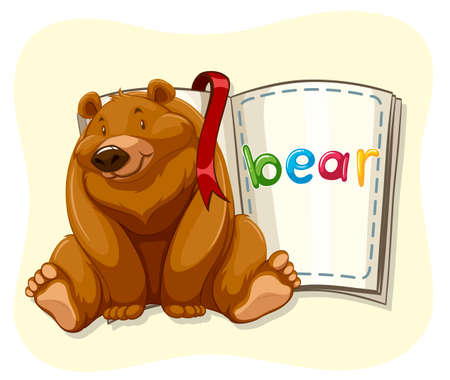 grizzly bear: Grizzly bear and a book illustration Illustration