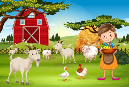 working animal: Farmer working on the farm with animals illustration