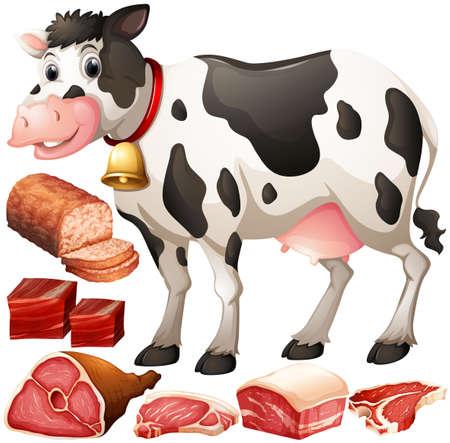 牛と肉製品図  イラスト・ベクター素材