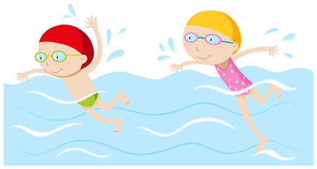 young boy in pool: Boy and girl swimming in the pool illustration