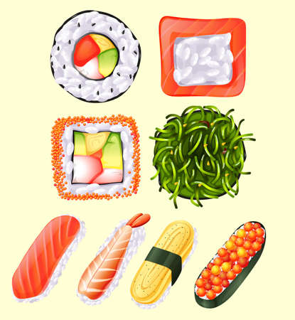raw egg: Japanese sushi roll and raw fish illustration