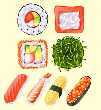 sushi roll: Japanese sushi roll and raw fish illustration