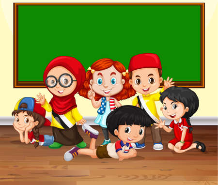 international students: Many children in the classroom illustration
