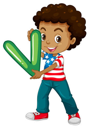 v alphabet: Little boy holding letter V illustration