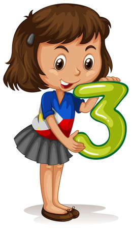 numbers clipart: Little girl holding number three illustration