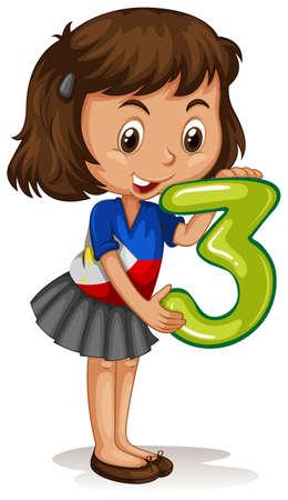 clipart: Niña que sostiene la número tres ilustración