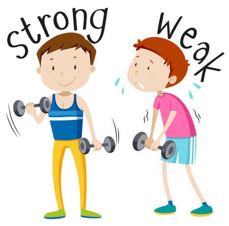 hombre deportista: Adjetivo opuesto con la ilustración de fuerte y débil
