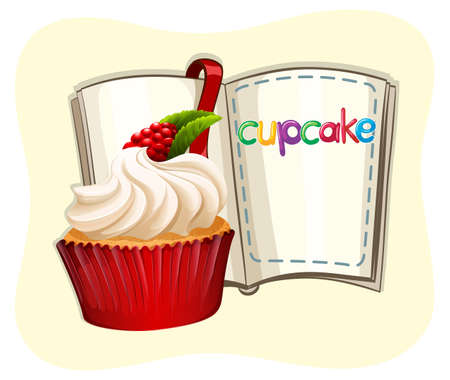 rasberry: Rasberry cupcake and a book illustration