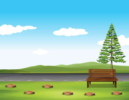landscape background: Public park with tree and bench illustration