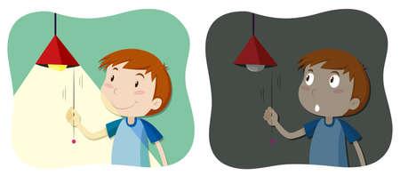 Boy tuning het licht aan en uit illustratie Stock Illustratie
