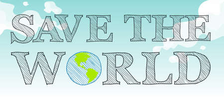 greenhouse effect: Save the world theme with sky and earth illustration