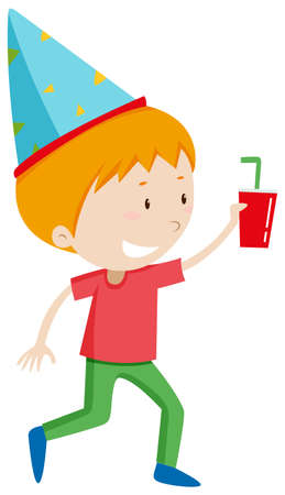 party hat: Little boy with drink and party hat illustration
