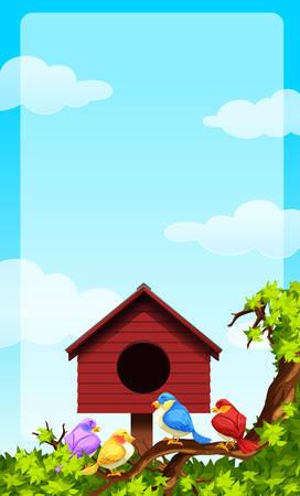 cielo de nubes: Pequeños pájaros y casa de aves ilustración