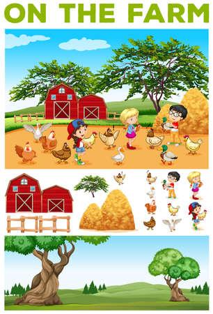 granja: Los ni�os y los animales de la granja ilustraci�n