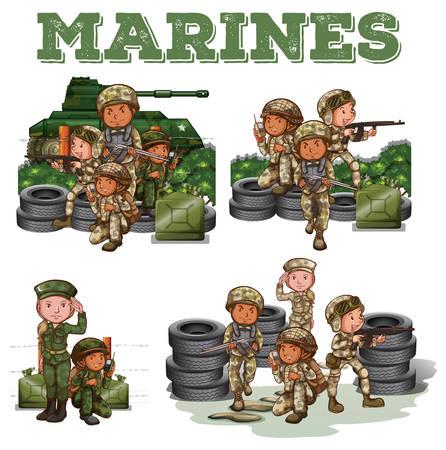 soldado: Soldados con armas luchando ilustración