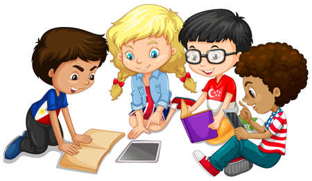 Group of children doing homework illustration
