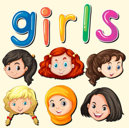 international students: International girls with happy face illustration
