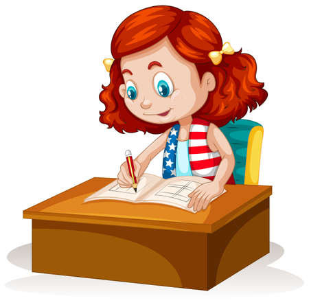 writing chair: Little girl writing on the table illustration