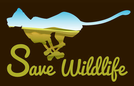 wildlife: Save wildlife theme with tiger running illustration