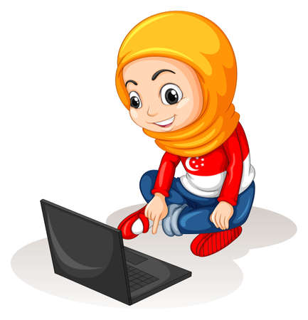 computer: Little girl working on computer illustration