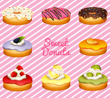 dessert: Donuts in different flavor illustration Illustration