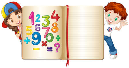 background picture: Boy and girl behind math book illustration