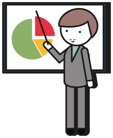 man pointing: Man pointing at the pie chart illustration