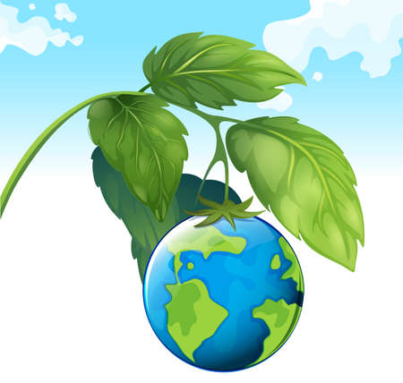 greenhouse effect: Save the world theme with earth and plant illustration