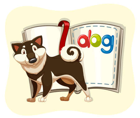 cute dog: Cute dog and a book illustration
