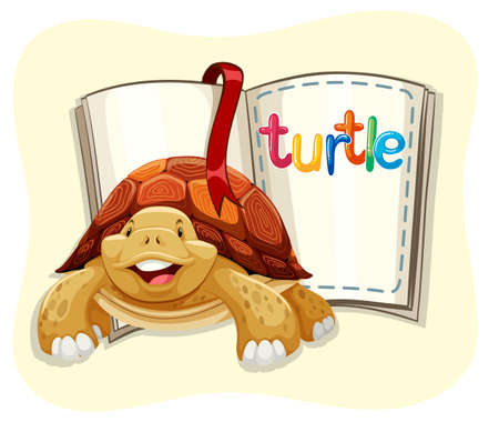 endangered: Brown turtle and a book illustration