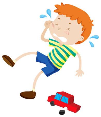 niño llorando: Muchacho que grita a causa de la ilustración juguete roto Vectores
