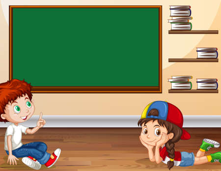 small room: Boy and girl learning in classroom illustration