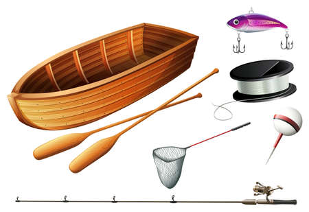 fishing pole: Boat and fishing equipments illustration