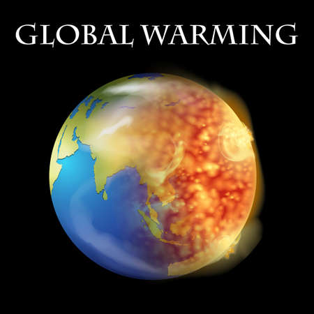 greenhouse effect: Global warming theme with earth on fire illustration Illustration