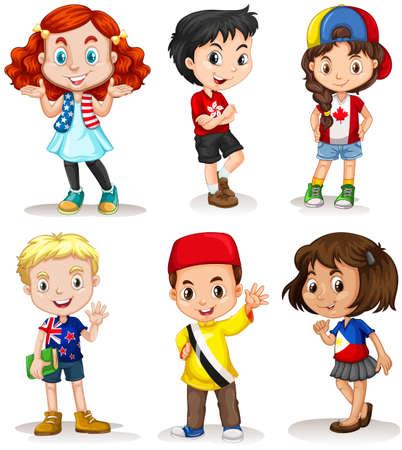 Garçons et filles de différents pays illustrations