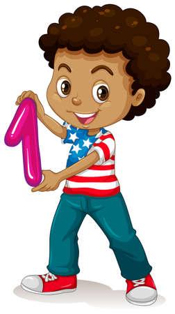 numero uno: Niño pequeño que sostiene el número uno de la ilustración