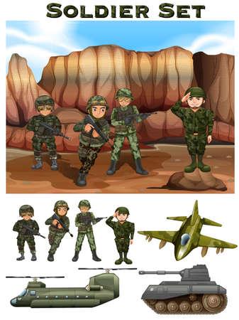 battle plane: Soldiers fighting in the battle field illustration Illustration
