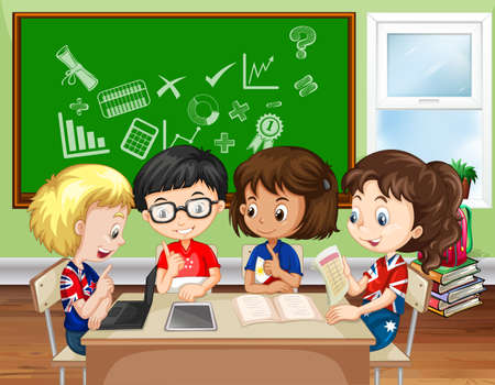 students in class: Children working in group in the classroom illustration Illustration
