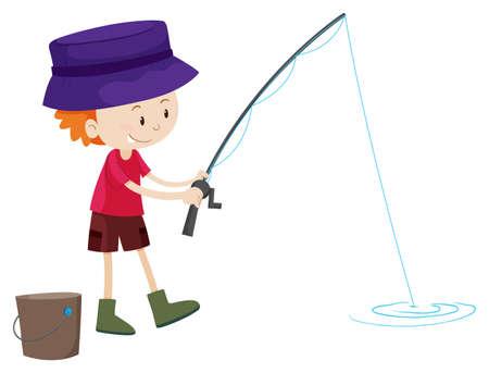 ethnicity happy: Little boy fishing alone illustration