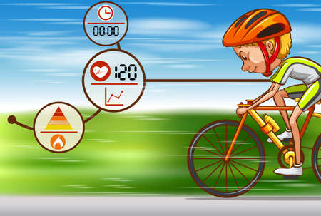 man working out: Man riding bicycle on the road illustration