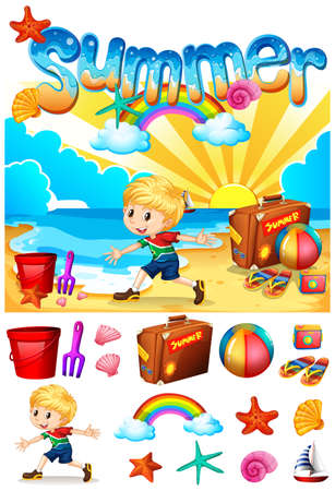 sandles: Boy enjoying summer on the beach illustration