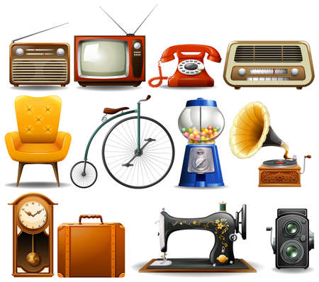 furniture: Many type of vintage objects illustration