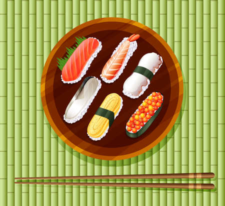 sushi roll: Tray of sushi roll and chopsticks illustration Vettoriali