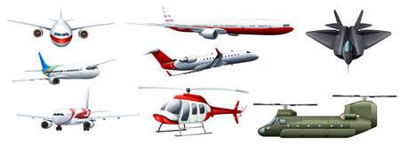 aereo: Diversi tipi di combattimenti illustrazione jet