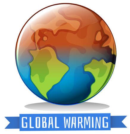 greenhouse effect: Global warming theme with earth getting hot illustration Illustration