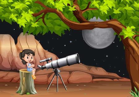 astronomie: Mädchen Blick auf Sterne und des Mondes durch Teleskop-Illustration